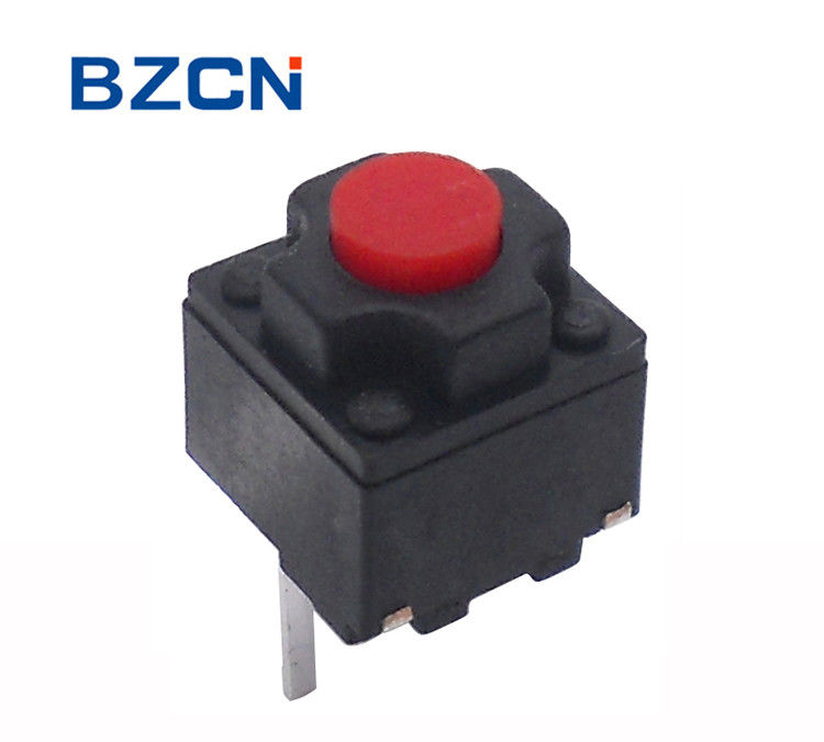 Silent Push Button 2 Pin 6.2X6.2 Mm Tactile Switch Momentary With Red Button
