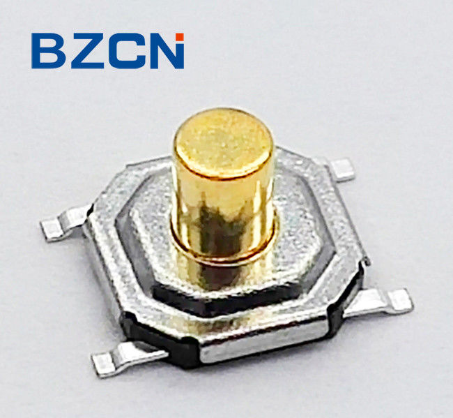 Metal Case Normally Closed Tactile Switch 12V Voltage With Brass Button