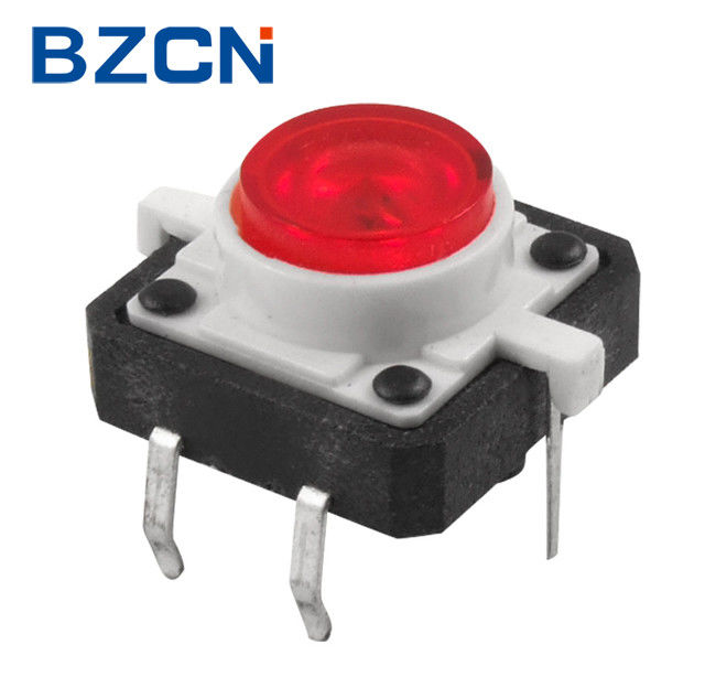 Red Button 12mm Tactile Switch , 6 Pin Momentary Push Switch With Light