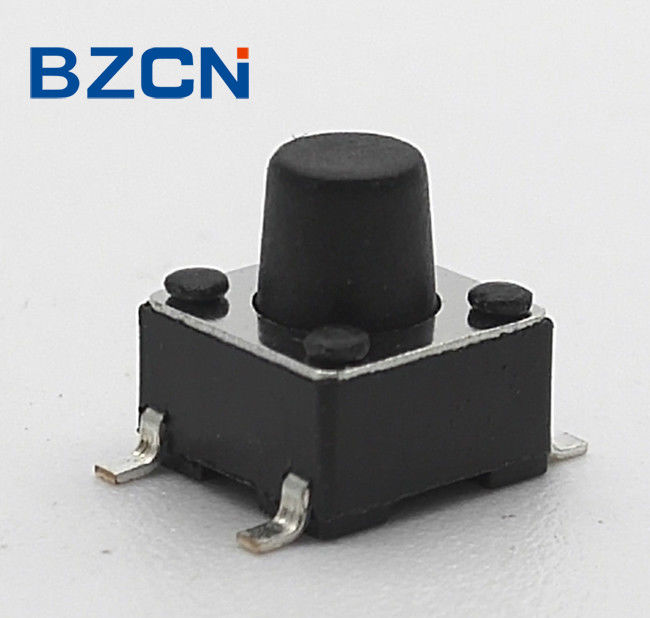 6.0 X 6.0 Mm Surface Mount Tactile Switch Reflow Solderable 4 Pin Terminal